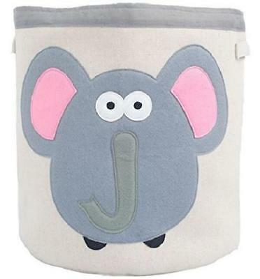 Grey Bee Animal Theme Collapsible Canvas Storage Bin for Kids, Grey - Elephant