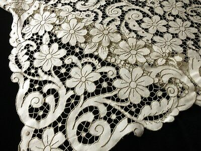 TABLE READY~ ALL CUTWORK Antique Madeira Hand Embroidery Linen Tablecloth 66x112