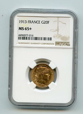 1913 France 20 Francs Rooster .900 Fine Gold Coin (MS65+) NGC