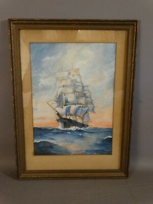 Antique CLIPPER SHIP on SEA Old MARITIME Nautical SEASCAPE Watercolor PAINTING