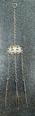 Very Antique Sewing Silver Handcrafted Art Nouveau Pendant Set