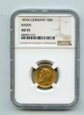 1876G Germany 10 Marks .900 Fine Gold Coin (AU55) NGC