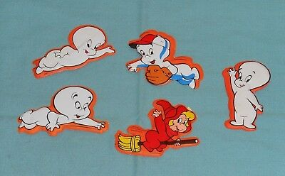 vintage CASPER THE FRIENDLY GHOST & WENDY MAGNETIC PUFFY STICKERS LOT (5 pc)
