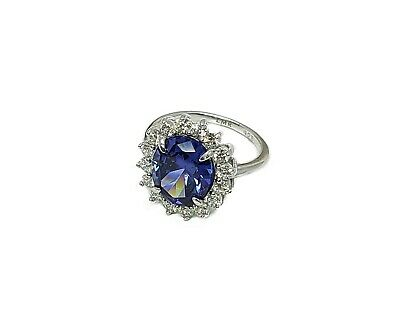 Accent size 8.5 Tanzanite Classic Light 10X12mm .925 Sterling Silver Ring W