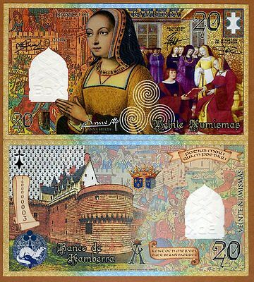 Kamberra, 20 Numismas, 2016, UNC > Anne of Brittany, French style, Commemorative