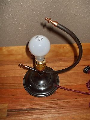 Vintage table lamp with half circle arc decorative *OLD threaded decorative tips