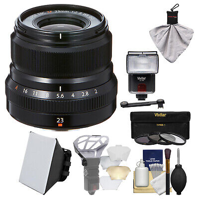 Fujifilm 23mm f/2.0 F2.0 XF R WR Lens Black & Flash Bundle