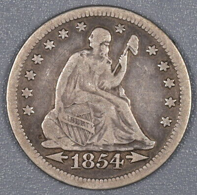 1854 P $.25 Seated Liberty Quarter With Arrows F/VF NO RESERVE