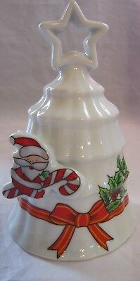 "4 1/4"" China Christmas Dinner w Elf, Ribboin, Holly & White Background Bell"