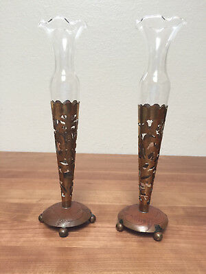 "RARE! Antique Pair of vintage cut Brass & Copper Vases with Glass inserts ~ 9""H"