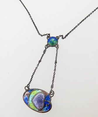 .Charles Horner Sterling Silver Enamel Set Pendant With Chain c.1923