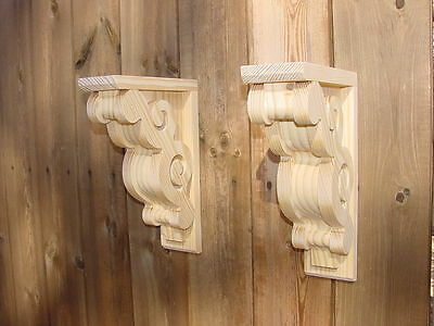 PAIR of Vintage Victorian Look Wood Corbels Shelf or Mantle Brackets  8 x 11-1/2