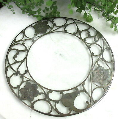 Lovely Antique Sterling Silver Overlay Trivet / Coaster