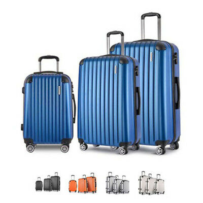 "Hard Shell Travel Luggage 3 Pcs Lightweight 20"" 24"" 28"" w/ TSA Lock NEW"