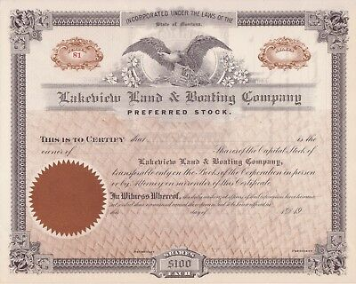 Lakeview Land & Boating Co stock certificate (Montana)