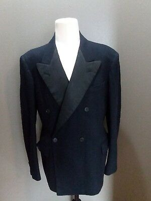 True Vintage1940s WW11 Black Wool Flannel 2 PC. Tuxedo Double Breasted USA