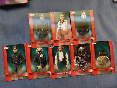 Lot 8x DIFF 2017 Topps Star Wars The Last Jedi RED SHORT PRINT PARALLELS