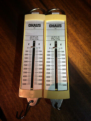 Ohaus 8008-MN Pull Type Spring Scale, 5000g/50n Capacity, 100g/1n pair