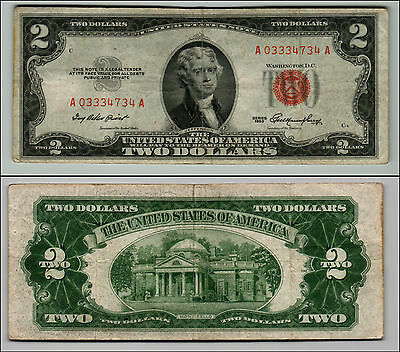 1953 $2 Dollar Bill Old Us Note Legal Tender Paper Money Currency Red Seal Q607