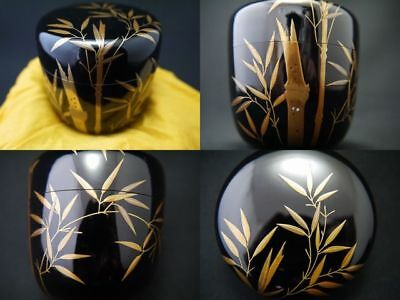 Japanese Traditional Lacquer Wooden Tea Caddy BAMBOO FOREST makie O-Natsume 1121