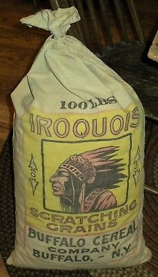 ANTIQUE c1920 IROQUOIS SCRATCHING GRAINS BUFFALO CEREAL SACK BAG CHIEF HEAD vafo