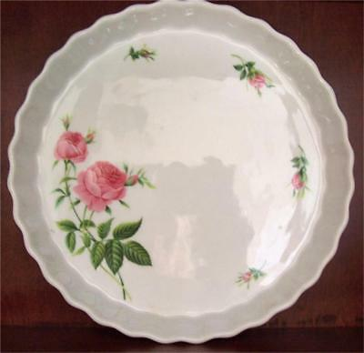 CHRISTINEHOLM Quiche Torte Tart Pie Pan Plate Baking Dish NEW Pink Roses