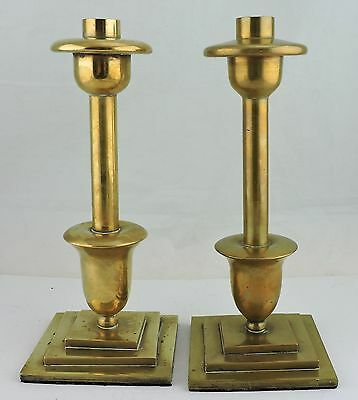 Vintage Column Pair Heavy Solid Brass Candlestick Holder Brassware Metalware