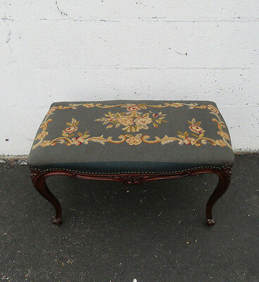 1900s French Carved Solid Wood Needle Point Tapestry Vanity Stool Ottoman 8498