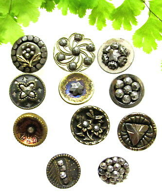Sparkly Lot Of Victorian Cut Steel Buttons D58