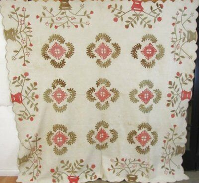 Christmas Album! c 1840s Red Green ANTIQUE Applique Quilt STIPPLE Stuffed hearts