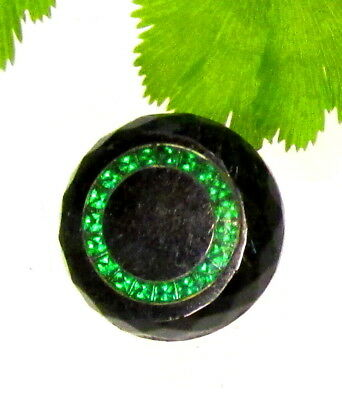 Unusual Antique Precision Inlay Button Green Ring Set In Black Glass D117