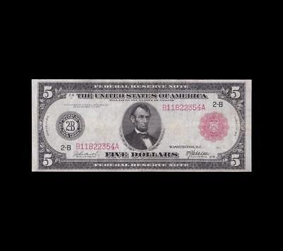 Ultra Rare 1914 $5 Red Seal Fed Fr.833B Very Fine