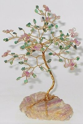 """6.75 inch---""""Dogwood"""" SAPPHIRE and EMERALD gem tree on pink TOURMALINE crystals!"""