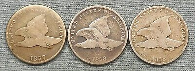 Lot Of 3 Flying Eagle Small Cents - 1857 & (2) 1858