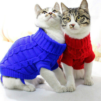 Pet Dog Cat Winter Warm Jumper Cotton Sweater Clothing Puppy Knit Costume Coat