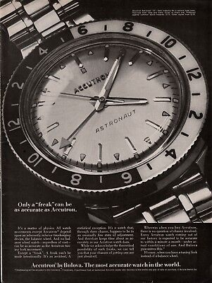1969 Bulova Accutron Astronaut O Watch Only A Freak As Accurate Photo Print Ad