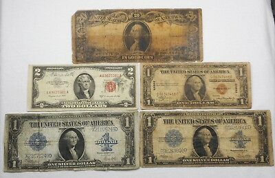 Lot Of 5 Low Grade US Notes-1906 $20 Gold, (2) 1923 $1 Silver Certificates, Etc.