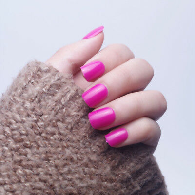 24 Pcs Simple Square Short Nail Art Design Rose Pink False Nails For Nail Beauty