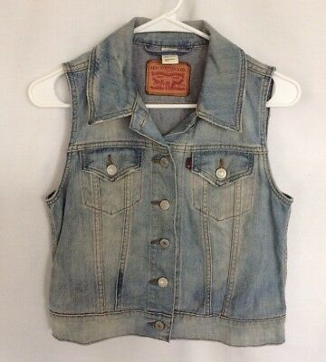 Sexy LEVIS Women's DISTRESSED CUTOFF Button Front DENIM VEST JACKET size SMALL