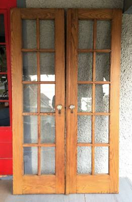 Antique Pair of Solid Oak French Doors. Glass Crystal Knobs BEAUTIFUL