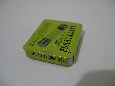 5X LITTELFUSE MICRO 1/100A (.01A or 10mA) 273 Fuse 125V  New old stock.
