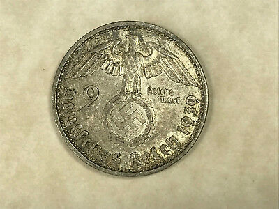 1939-A Two (2) Reichsmark Silver German Coin with Swastika-Hindenburg Issue KM93