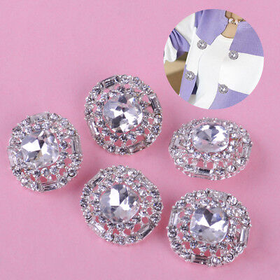 5 Rhinestone Crystal Round Shank Buttons Sewing Craft Embellishment 23mm