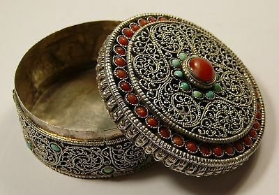 Rare Imperial Russian 84 Silver Pillbox Turquoise Coral St. Petersburg 1869