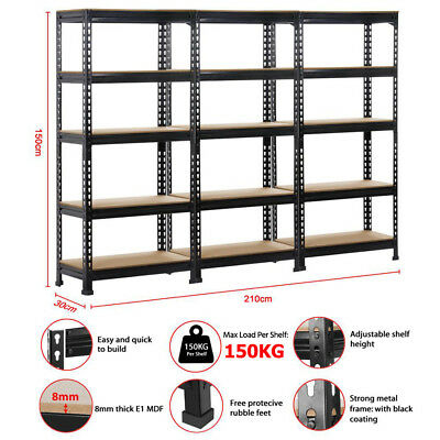 3 x 0.7M Steel Warehouse Racking Rack Storage Garage Shelves Shelving Shelf
