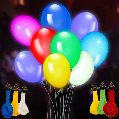 LED Light Up Balloons Mixed Colors Flash Latex Glow In The Dark Balloons