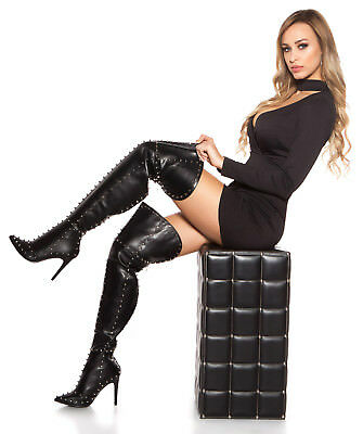 Sexy Wow High Heels  Leder Plateau Stiefel Highheels Gogo Tabledance Nieten