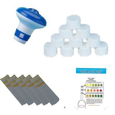 20g Chlorine Tablets with Dispenser & Test Strips Hot Tub Swimming Pool Spa tubs