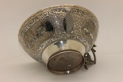Antique Original Silver Niello Amazing Ottoman Fish Decorated Bath Bowl