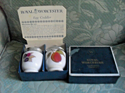 Pair of ROYAL WORCESTER Evesham EGG CODDLERS for ONE egg in original box